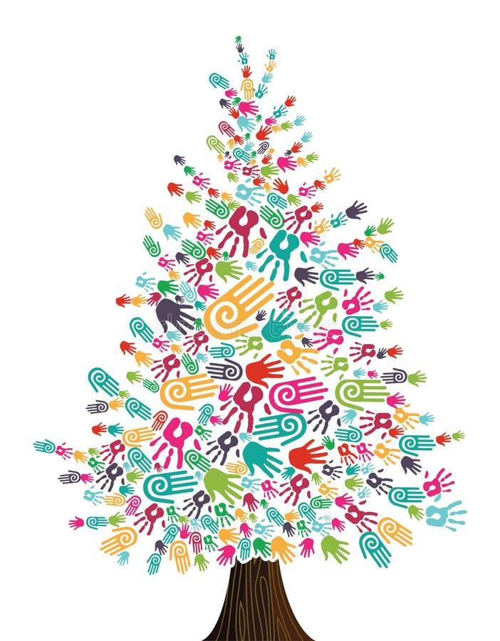 Manos del árbol de navidad de la diversidad aisladas ilustración del vector