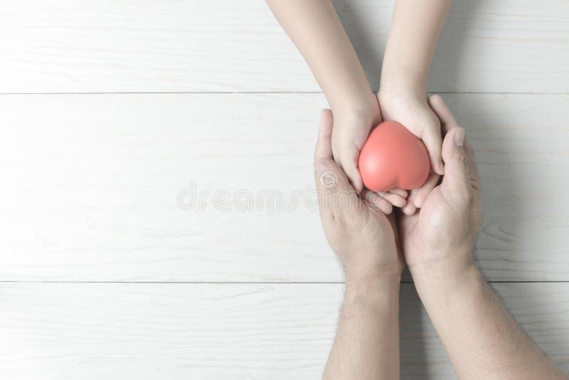 Manos del adulto y del niño que llevan a cabo el corazón rojo en tono del vintage imagenes de archivo