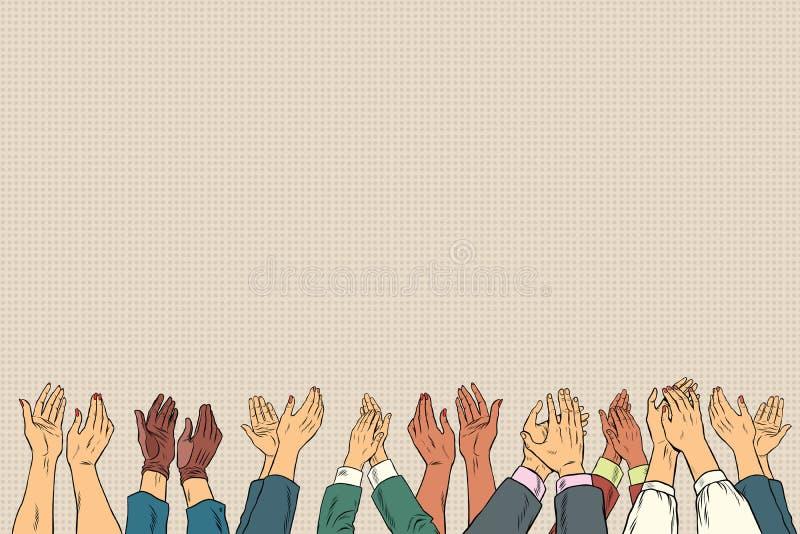 Manos del aplauso para arriba en congreso de negocios ilustración del vector