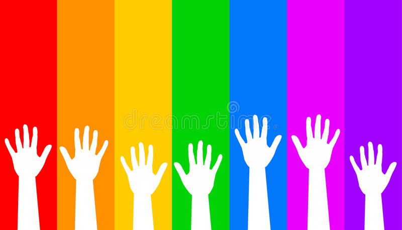 Manos del arco iris stock de ilustración