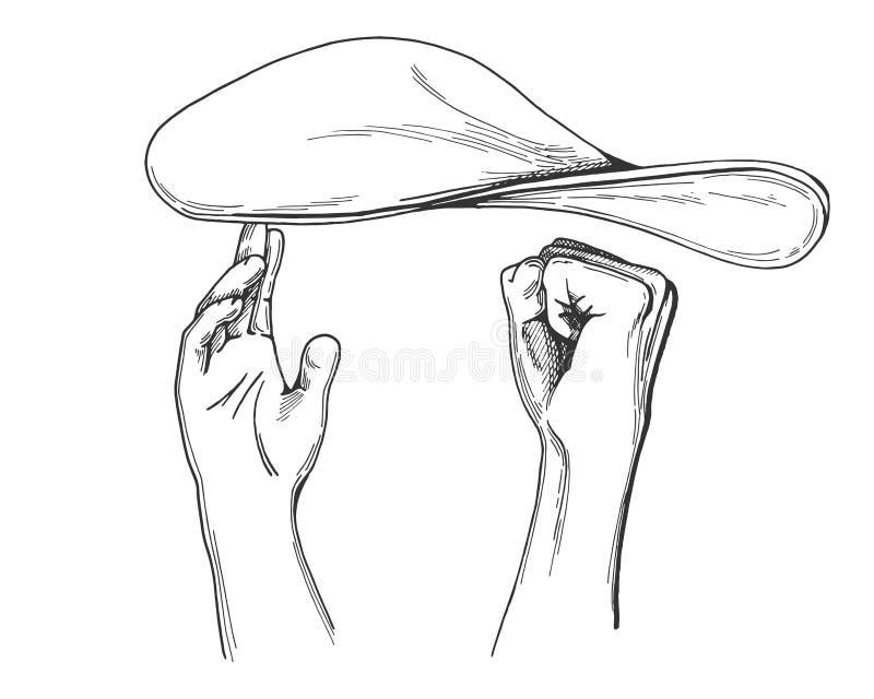 Manos del cocinero que lanzan la pasta de la pizza stock de ilustración