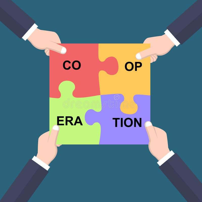 Manos del concepto de la cooperación que se unen a pedazos del rompecabezas stock de ilustración