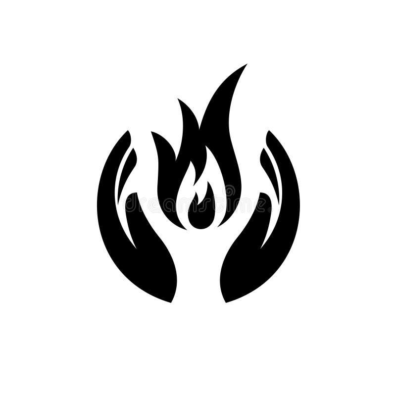 Manos del cuidado con el fuego dentro del icono libre illustration