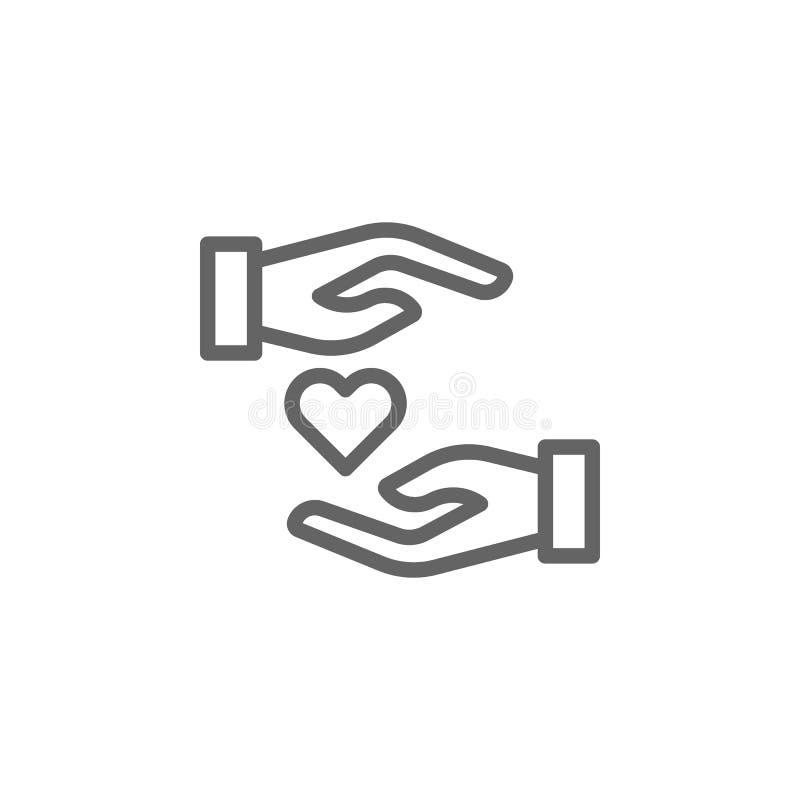 Manos del d?a de madres con el icono del esquema del coraz?n r Las muestras y los s?mbolos se pueden utilizar para la web, logoti stock de ilustración