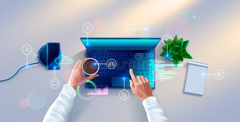 Manos del desarrollador que trabajan en el teclado de la opinión superior del ordenador portátil Lugar de trabajo del programador ilustración del vector