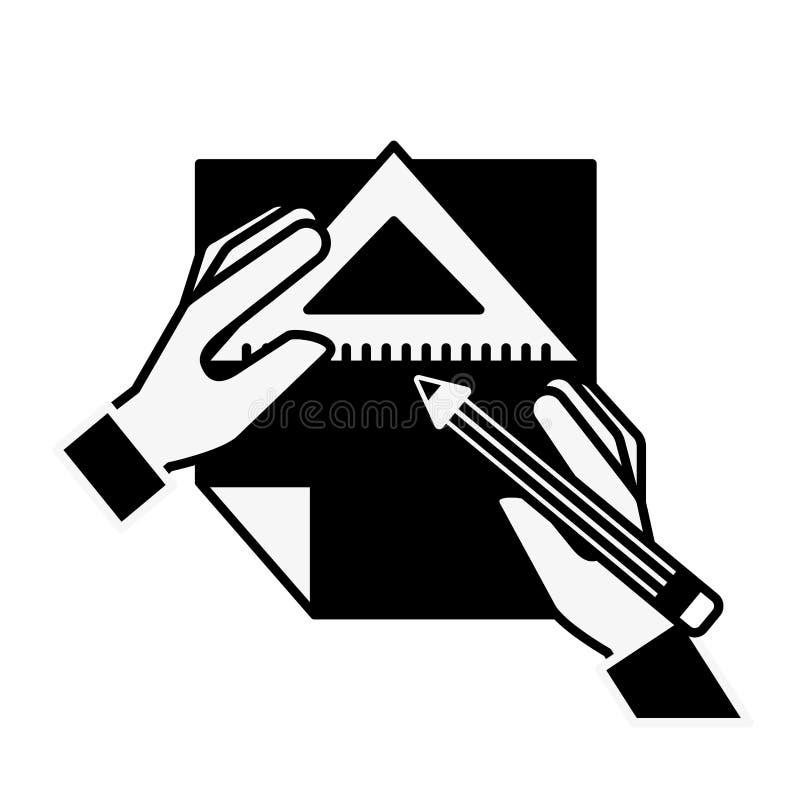 Manos del diseñador gráfico con el triángulo y el papel de la regla del lápiz ilustración del vector