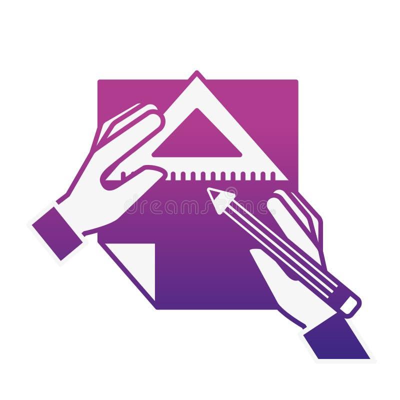 Manos del diseñador gráfico con el triángulo y el papel de la regla del lápiz libre illustration