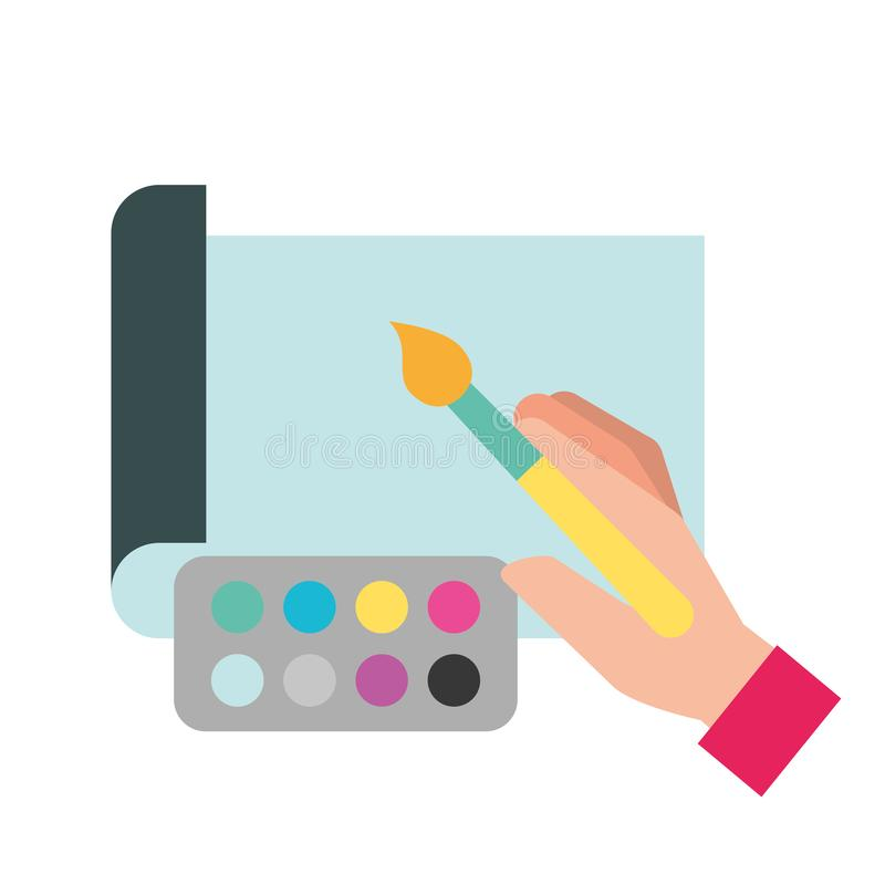 Manos del diseñador gráfico con la pintura del color del cepillo libre illustration