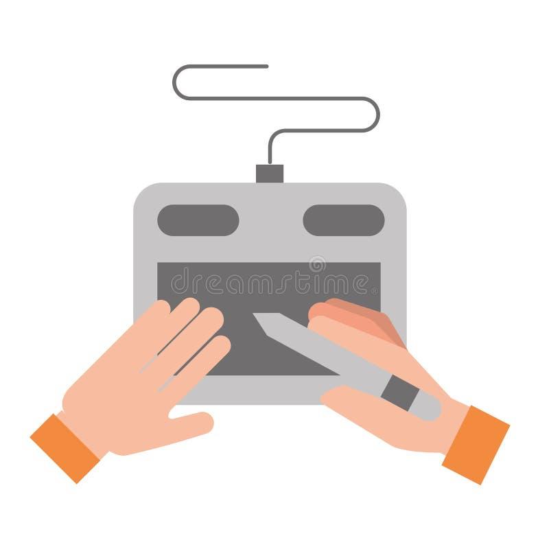 Manos del diseñador gráfico con la pluma digital de la tableta stock de ilustración
