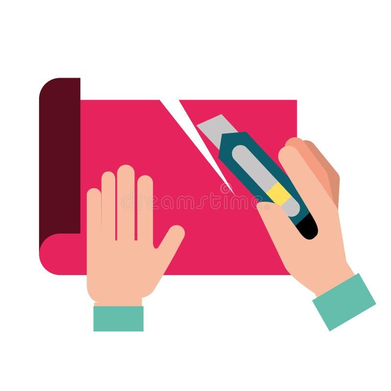 Manos del diseñador gráfico que cortan un papel libre illustration