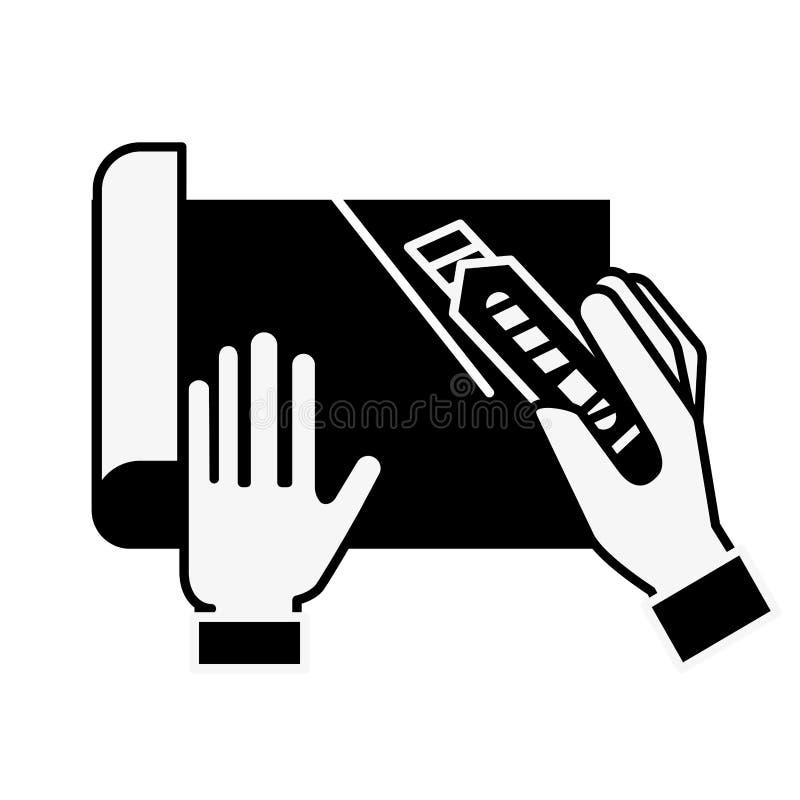 Manos del diseñador gráfico que cortan un papel ilustración del vector