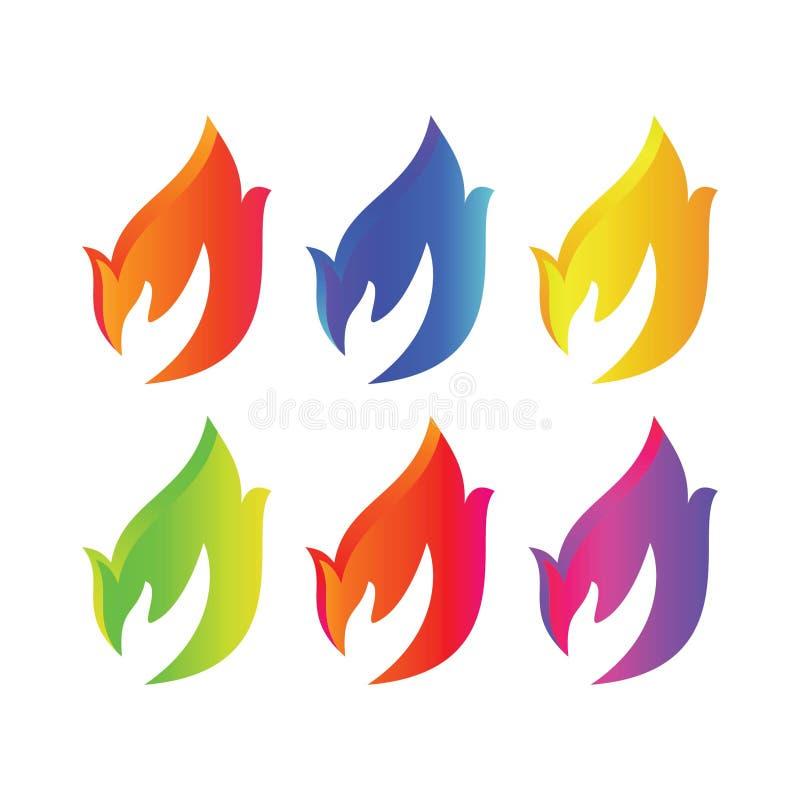 Manos del fuego stock de ilustración