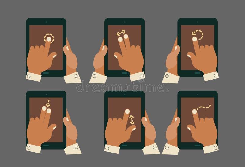 Manos del gesto del multi-touch con las maquetas de la tableta libre illustration