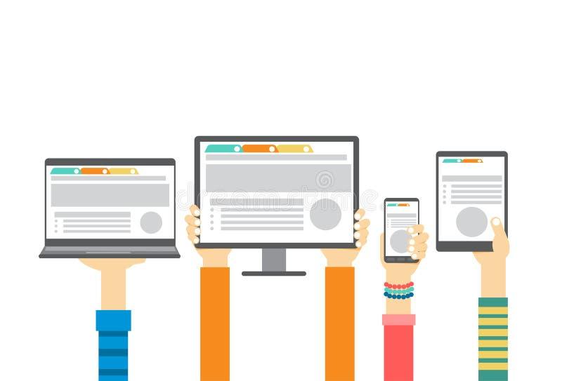 Manos del grupo que sostienen el monitor elegante del ordenador portátil de la tableta del teléfono celular, concepto de la tecno ilustración del vector