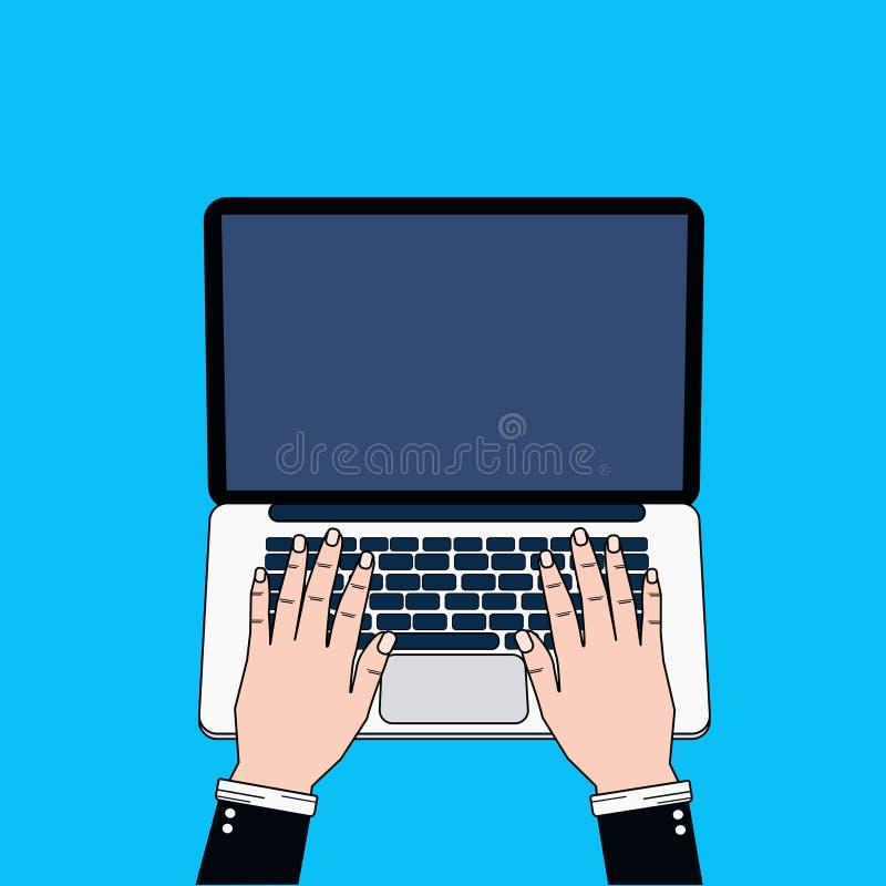 Manos del hombre de negocios usando el ordenador portátil que mecanografía la visión superior stock de ilustración