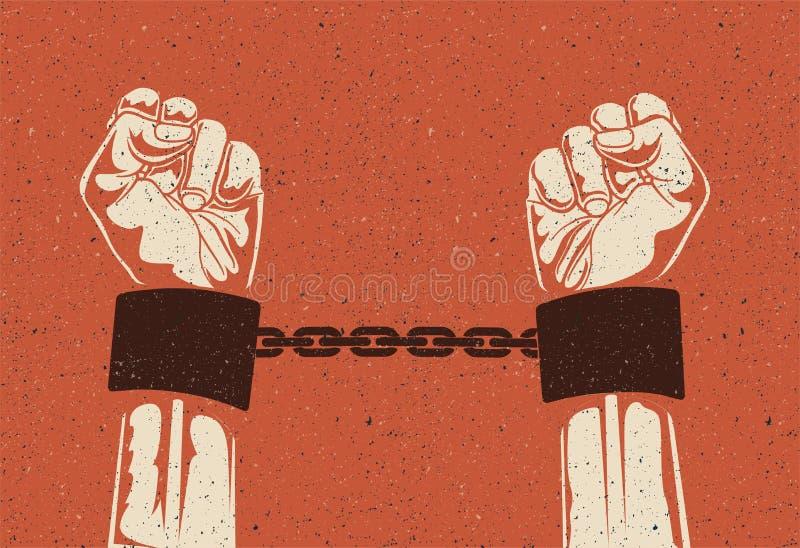 Manos del hombre en esposas de acero filtradas Manos encarceladas en cadenas Manos de los presos El vintage dise?? el ejemplo del foto de archivo libre de regalías