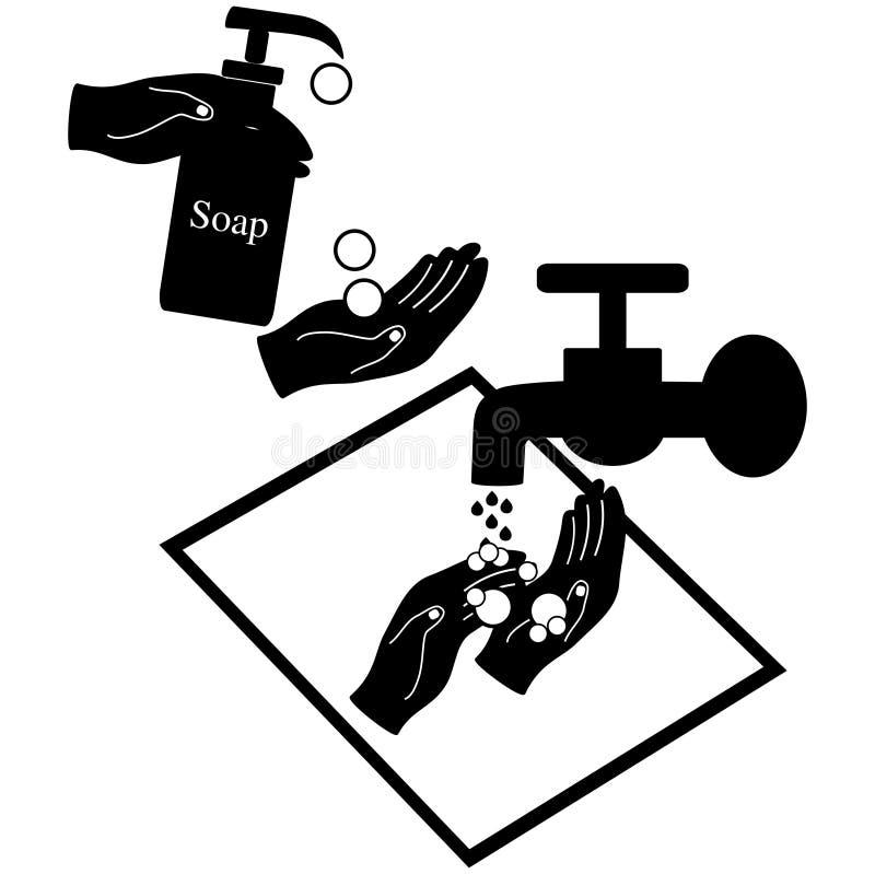 Manos del lavado con el jab?n l?quido libre illustration