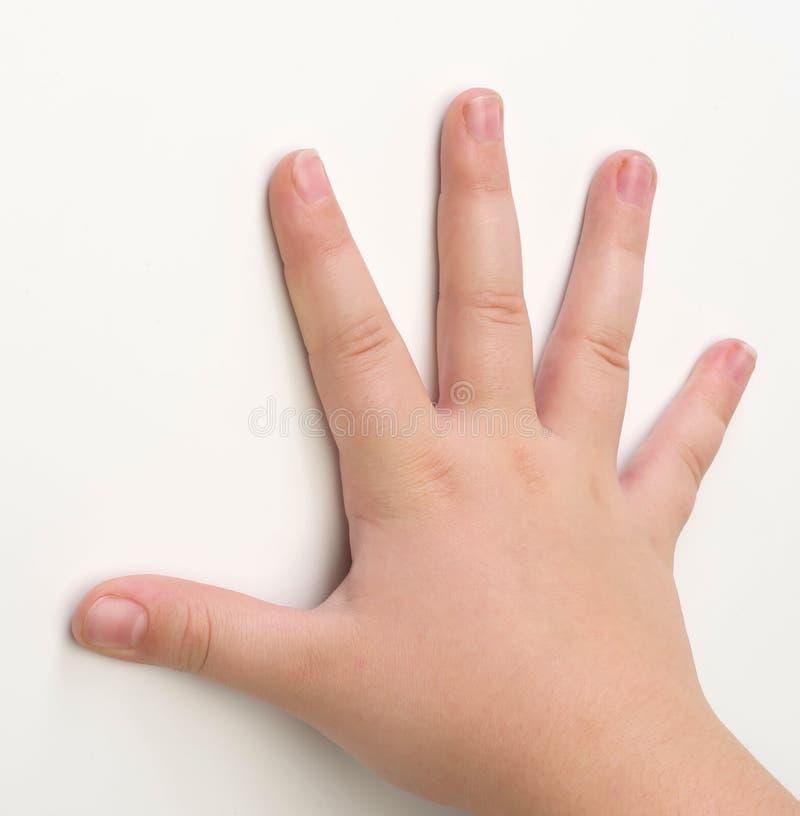 Manos del niño en blanco fotos de archivo