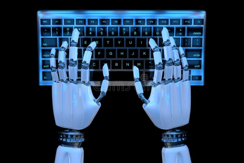 manos del robot 3d que mecanografían en el teclado, telclado numérico Cyborg robótico de la mano que usa el ordenador 3D rinden e ilustración del vector