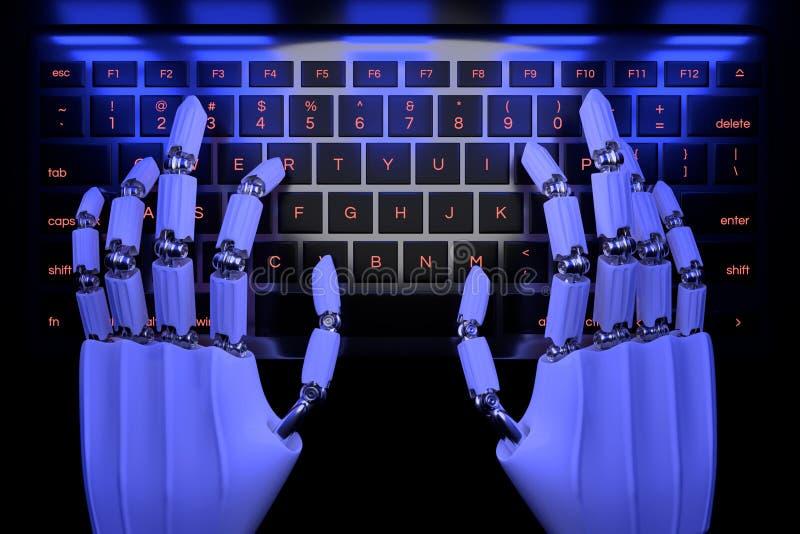 Manos del robot que mecanograf?an en telclado num?rico Mano rob?tica del cyborg usando el ordenador del teclado 3D rinden el ejem ilustración del vector