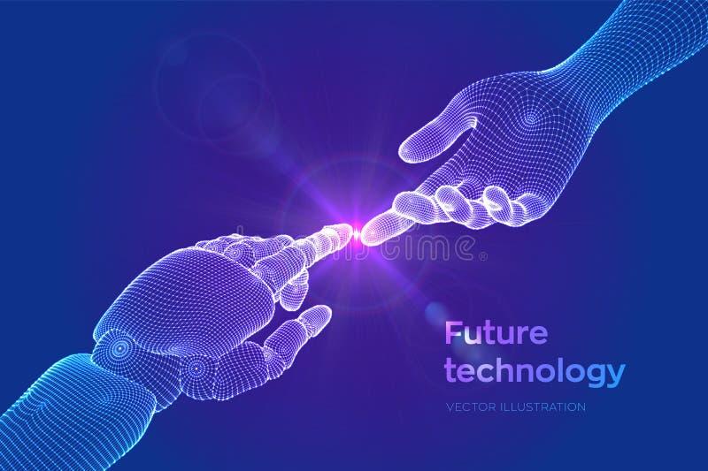 Manos del robot y del tacto humano Finger del Cyborg alrededor para tocar el finger humano Símbolo de la conexión entre la gente  ilustración del vector
