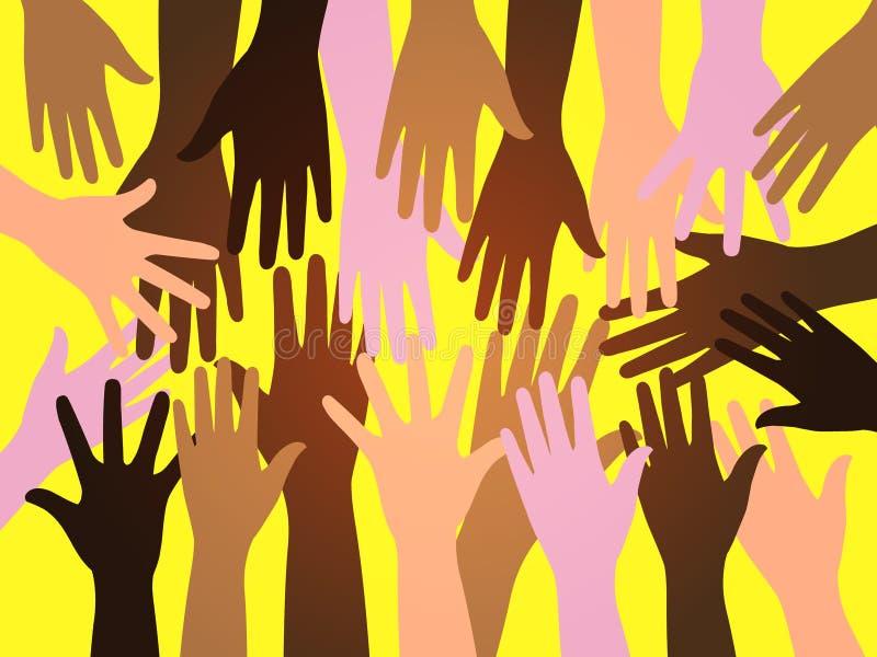 Manos del ser humano de la muchedumbre ilustración del vector