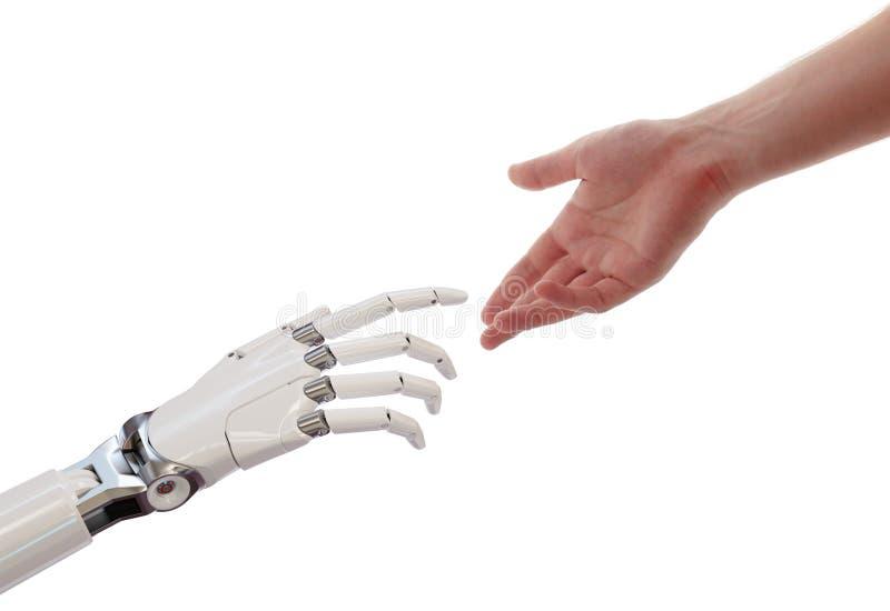 Manos del ser humano y del robot que alcanzan el ejemplo del concepto 3d de la sociedad de la inteligencia artificial libre illustration