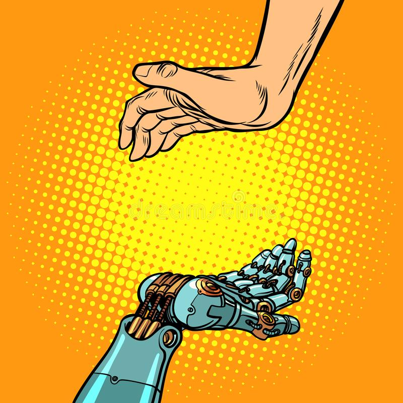 Manos del ser humano y del robot Gesto de la presentación stock de ilustración