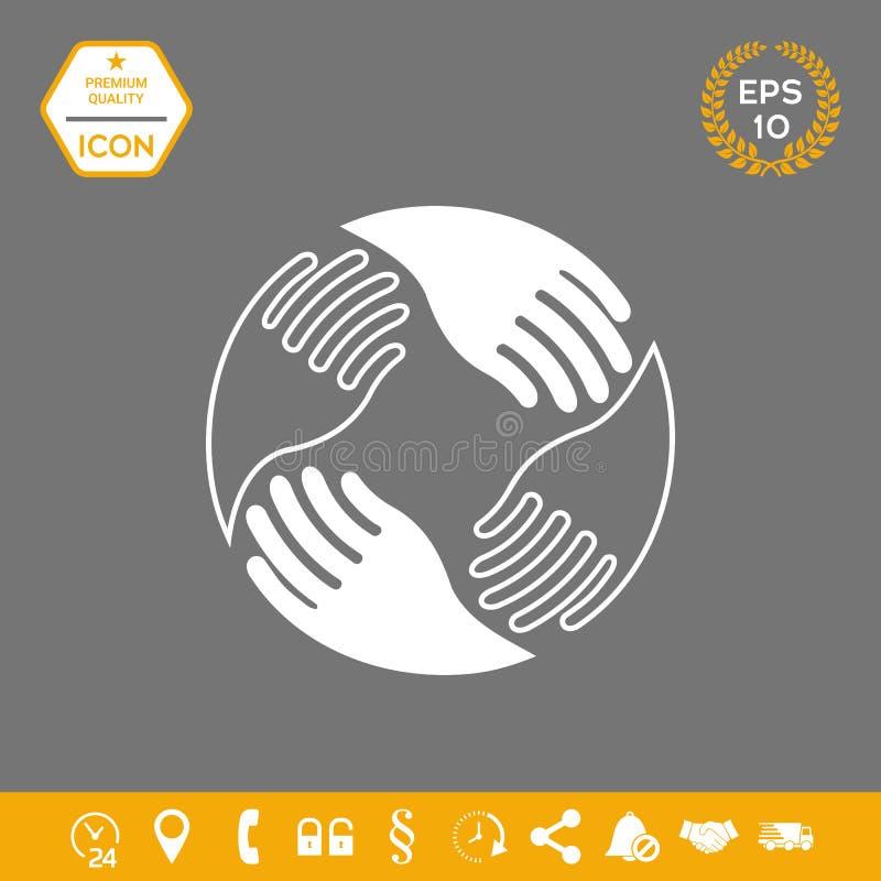 Manos del trabajo en equipo Logotipo humano de la conexión Elementos gráficos para su diseño stock de ilustración