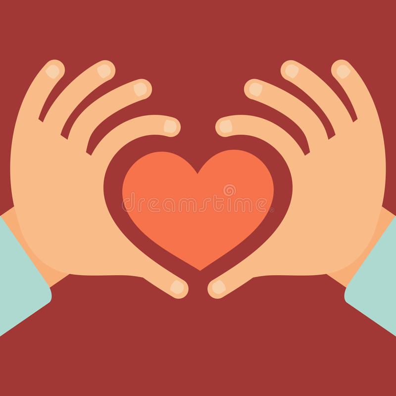 Manos del vector bajo la forma de corazón libre illustration