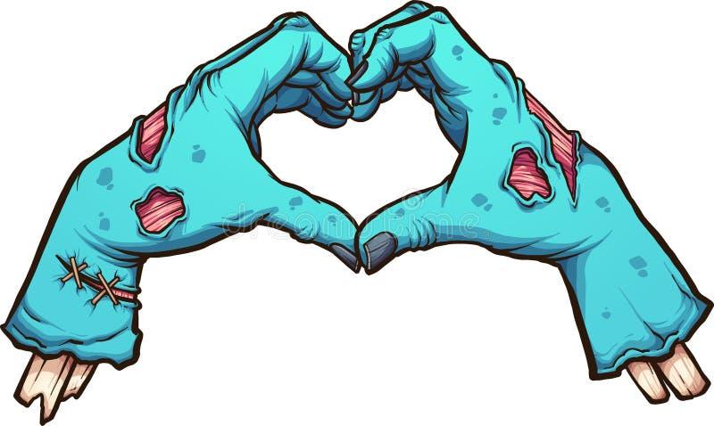 Manos del zombi de la tarjeta del día de San Valentín que forman una forma del corazón ilustración del vector