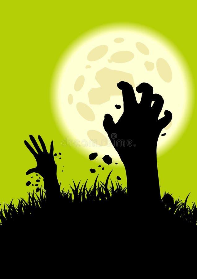 Manos del zombi que suben ilustración del vector