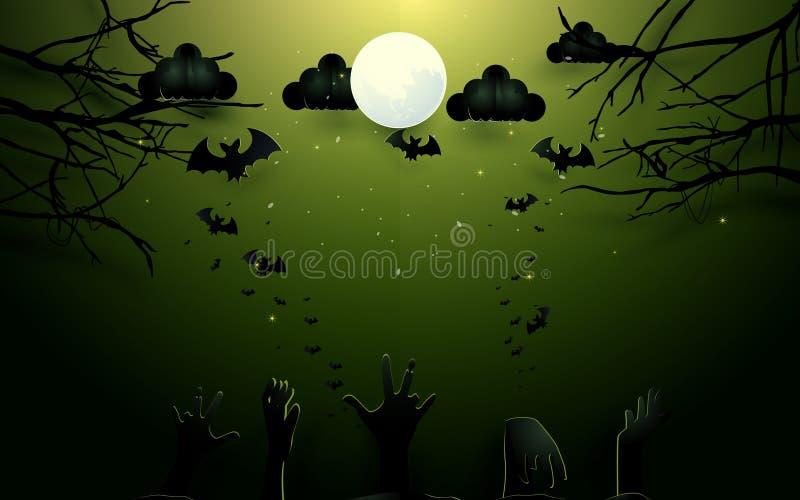 Manos del zombi y árboles viejos en fondo de la Luna Llena Ejemplo del diseño del feliz Halloween libre illustration
