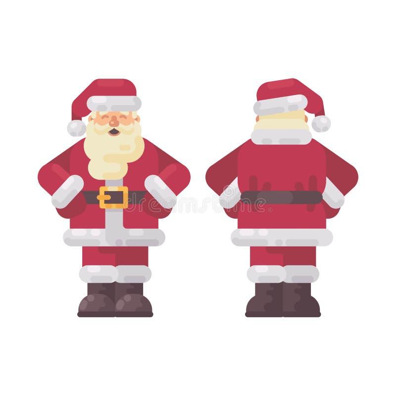 Manos derechas felices de Santa Claus en la cintura, el frente y visiones traseras stock de ilustración