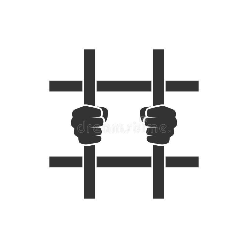 Manos detrás del icono de las barras libre illustration