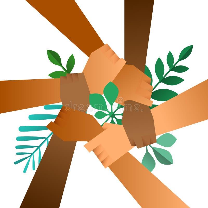 Manos diversas del equipo de la ayuda de la naturaleza con la hoja verde ilustración del vector