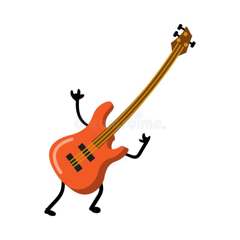 Manos divertidas rojas lindas de la roca del characterwith de la guitarra eléctrica ilustración del vector