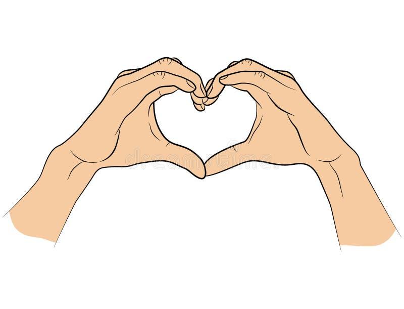 Manos dobladas en la forma de un corazón stock de ilustración
