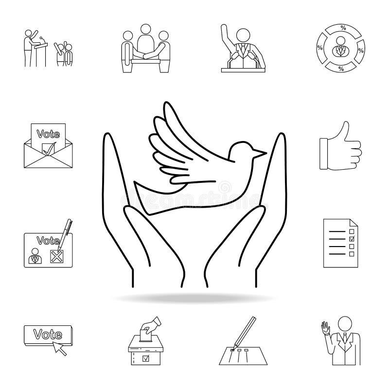 manos e icono de la paloma Sistema detallado del esquema de iconos del elemento de las elecciones Diseño gráfico superior Uno de  libre illustration