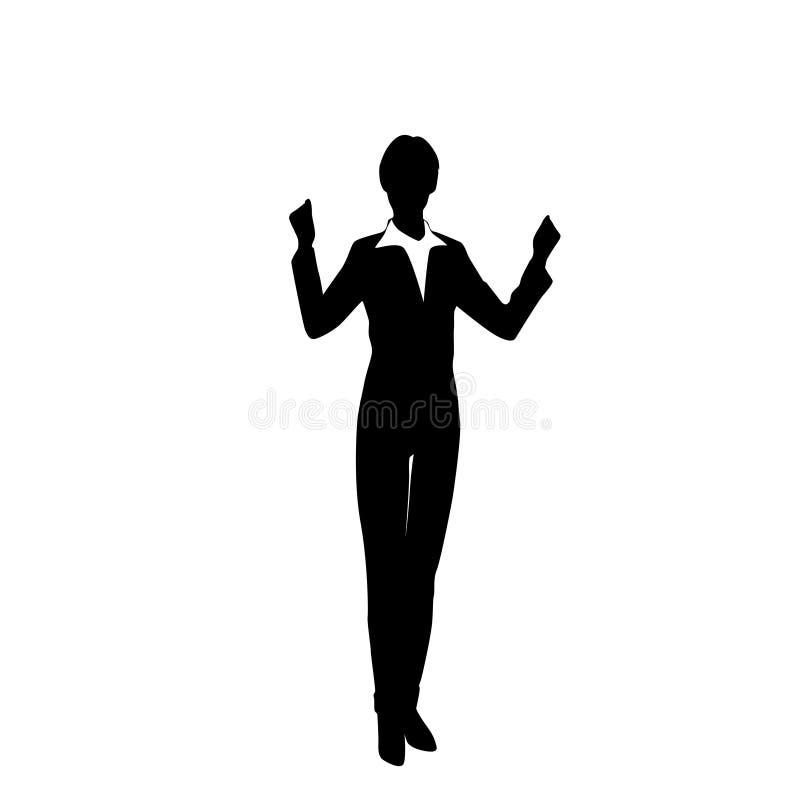 Manos emocionadas silueta del control de la mujer de negocios para arriba stock de ilustración
