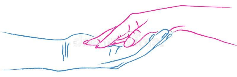 Manos en amor stock de ilustración