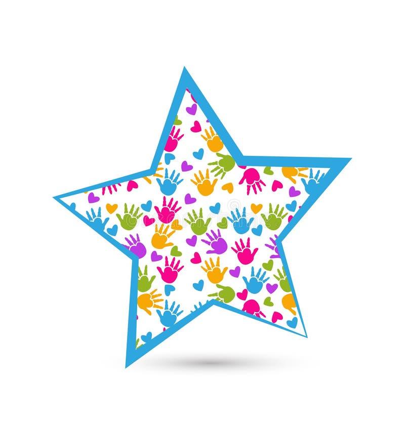 Manos en estrella  ilustración del vector