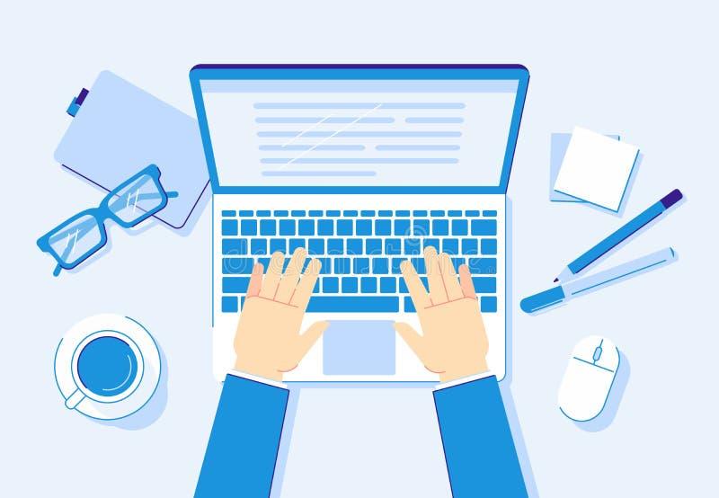 Manos en la computadora port?til Trabajo del ordenador, trabajador del negocio que mecanograf?a en el teclado del cuaderno y ejem ilustración del vector
