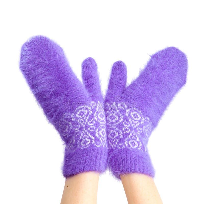 Manos en manoplas mullidas de la lila. Cierre para arriba fotos de archivo
