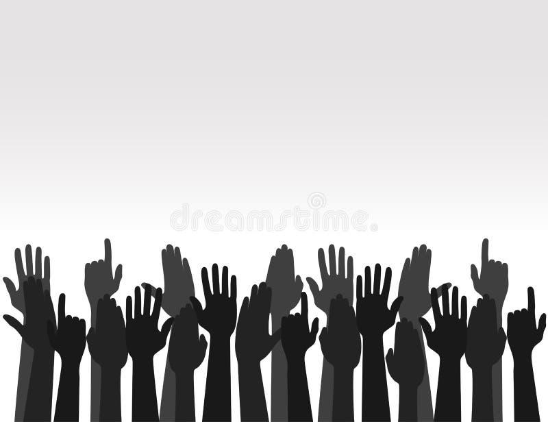 Manos encima de los colores, mano de votación aumentada para arriba, concepto de la elección Vector ilustración del vector