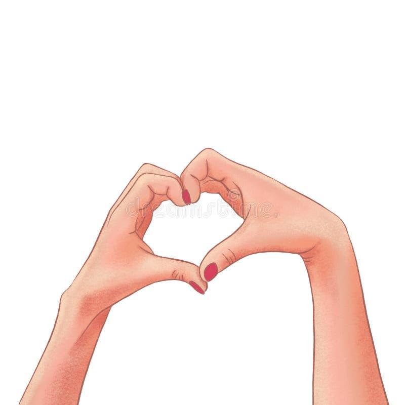Manos exhaustas de la mujer que hacen una forma del corazón ilustración del vector