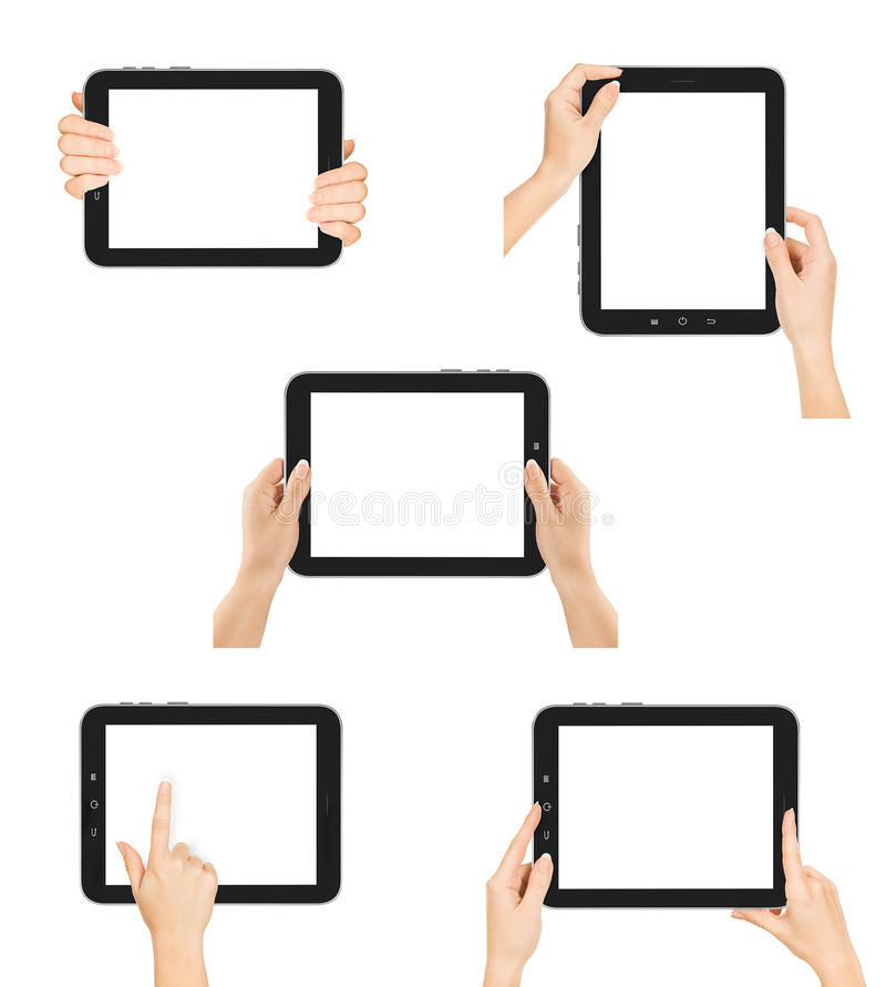 Manos femeninas de la colección usando la PC de la tableta fotos de archivo libres de regalías