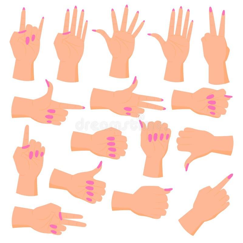 Manos femeninas determinadas ilustración del vector