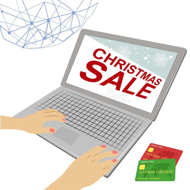 Manos femeninas en el ordenador portátil con el texto y el crédito de la venta de la Navidad ilustración del vector