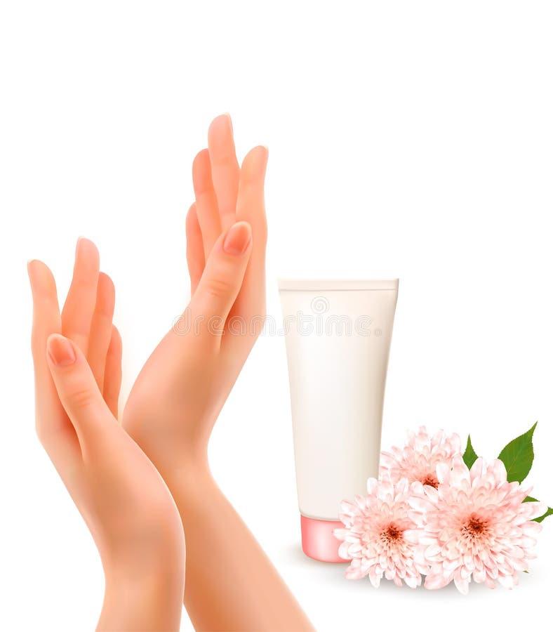 Manos femeninas hermosas con una crema y flores ilustración del vector